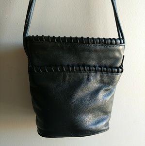Vintage 1980s Black Leather Crossbody